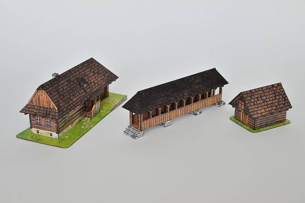 Chalupa z Važca, drevený most zo stredných Čiech, zrub z Bocianskej doliny