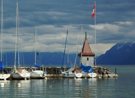 maják Morges Jeteé du Nord - Švýcarsko