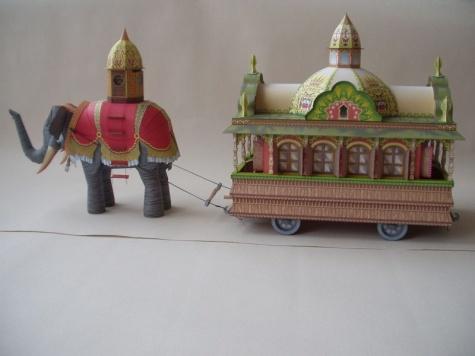Parní slon a osobní vagon