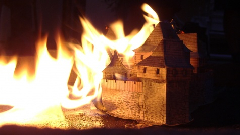 požár hradu