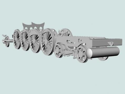 přední podvozek českých parních lokomotiv